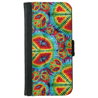 Retro Tie Dye Peace Signs iPhone 6 Wallet Case