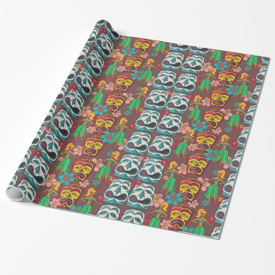 Retro tiki hula cute gift wrap wrapping paper