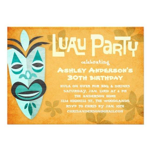 Retro Tiki Luau Party Invitations