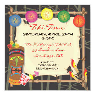 Retro Tiki party invitation with bamboo frame