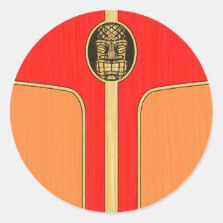 Retro Tiki Surfboard Classic Round Sticker