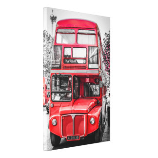 Retro Tinted London Red Bus Gallery Wrapped Canvas
