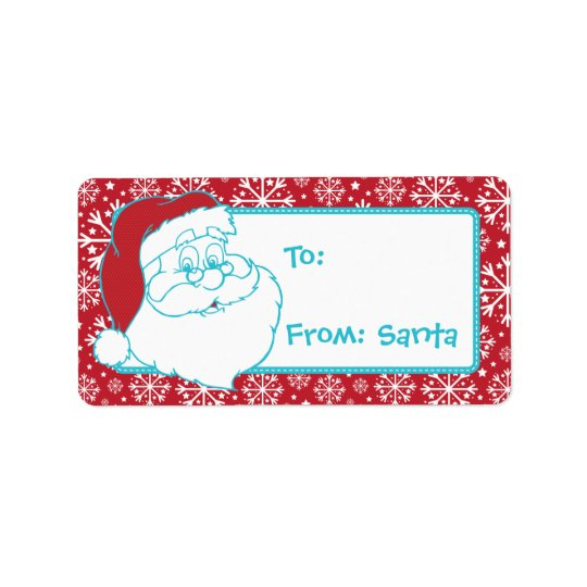 Retro To From Santa Tag Red Snowflakes Address Label