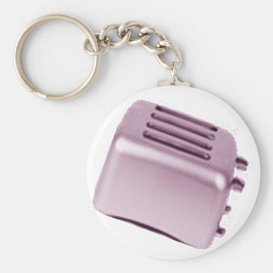 Retro Toaster - Pink Basic Round Button Key Ring