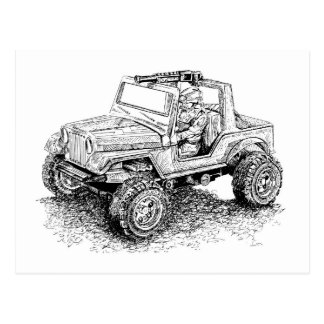 Retro toy Off-Road Vehicle/Hydroplane Postcard