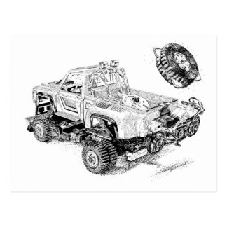 Retro toy Pickup/Recon Truck Postcard