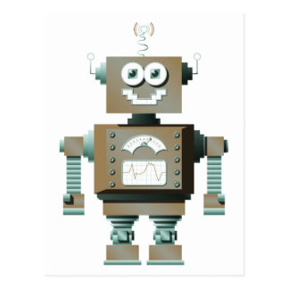 Retro Toy Robot Postcard (lt)