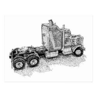 Retro toy Tractor Rig/Mobile Defence Unit Postcard