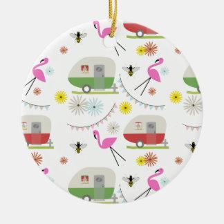 Retro Trailer & Flamingos Pattern Christmas Ornament