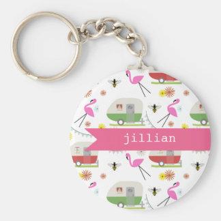 Retro Trailer & Flamingos Pattern Key Ring