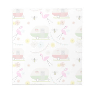 Retro Trailer & Flamingos Pattern Memo Note Pads