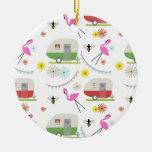Retro Trailer & Flamingos Pattern Round Ceramic Decoration