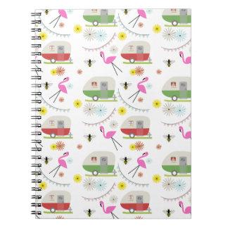 Retro Trailer & Flamingos Pattern Spiral Note Book