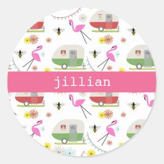 Retro Trailer Flamingos Pattern Round Sticker