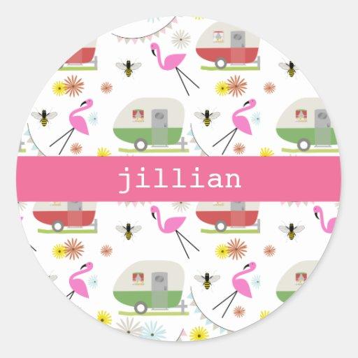 Retro Trailer & Flamingos Pattern Round Sticker