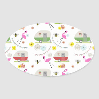 Retro Trailer & Flamingos Pattern Oval Stickers