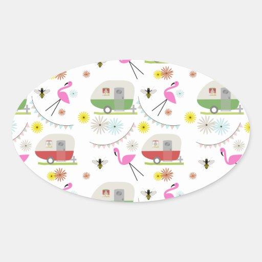 Retro Trailer & Flamingos Pattern Oval Stickers