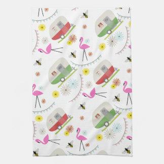 Retro Trailer & Flamingos Pattern Tea Towel