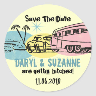 Retro Trailer Just Hitched Save The Date Round Sticker