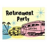 Retro Trailer Retirement Party Postcard Invitation
