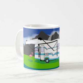 Retro trailer, teal, single axle coffee mug