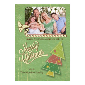Retro Tree And Candycane Holiday Photo Flat Card