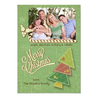 Retro Tree And Candycane Holiday Photo Flat Card Personalized Invitation