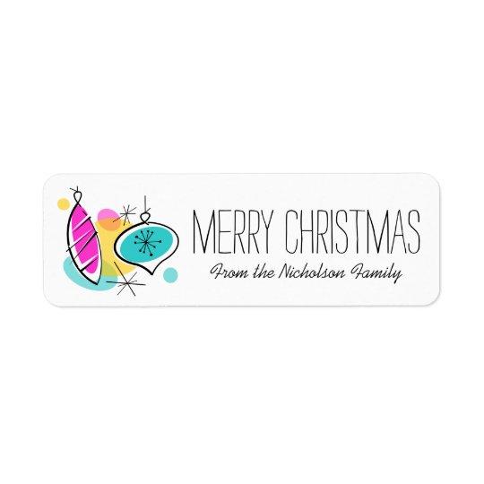 Retro Tree Baubles Christmas label small