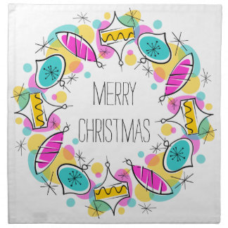 Retro Tree Baubles Circle Christmas napkins cloth