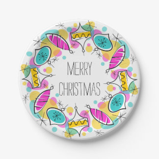 Retro Tree Baubles Circle Christmas paper plates