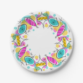 Retro Tree Baubles Circle paper plates