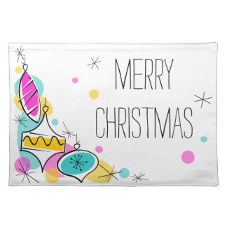 Retro Tree Baubles Corner Christmas placemat cloth