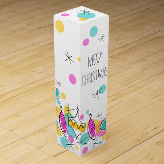 Retro Tree Baubles Corner Christmas wine box