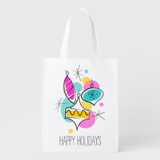 Retro Tree Baubles Group Holidays reusable bag