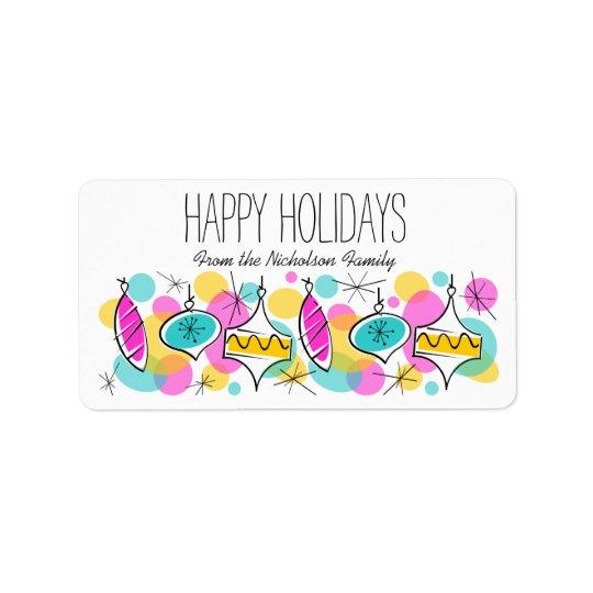 Retro Tree Baubles Holidays label medium