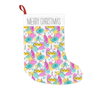 Retro Tree Baubles Multi Text stocking red back