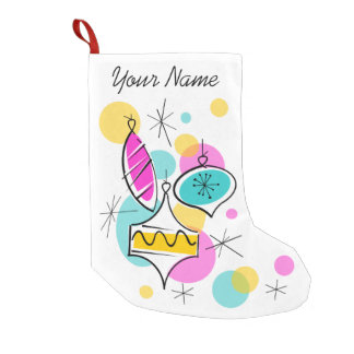 Retro Tree Baubles Name stocking red back