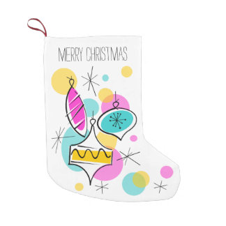 Retro Tree Baubles Text stocking 2 sided