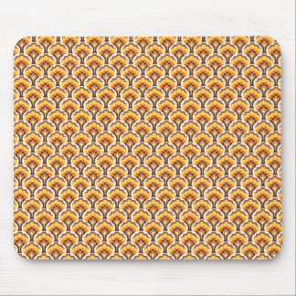 retro tree pattern - orange mouse pad
