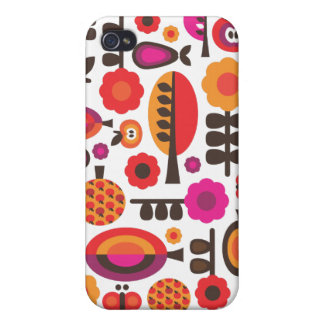 Retro trees and apples pattern iphone case iPhone 4 cover