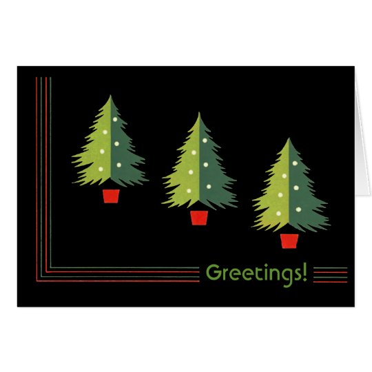 Retro Trees Christmas Greeting Cards
