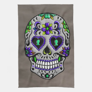 Retro Trendy Day of the Dead Sugar Skull Tea Towel