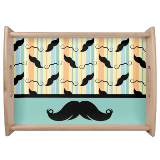 Retro Trendy Handlebar Mustache Serving Tray