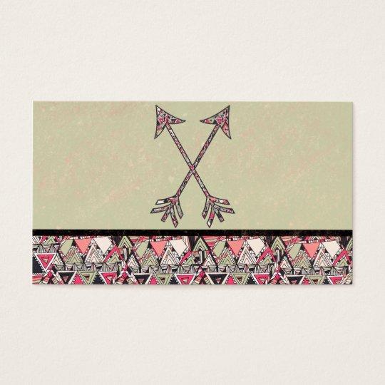 Retro Tribal Arrows Vintage Earth Aztec Pattern Business Card