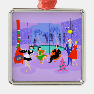 Retro Tropical Christmas Party Holiday Ornament