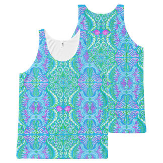 Retro tropical floral Pattern All-Over Print Tank Top