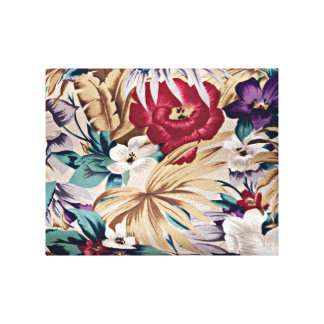 Retro Tropical Flower Pattern Canvas Print