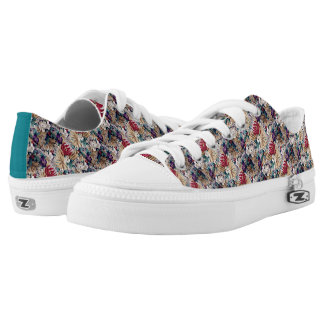 Retro Tropical Flower Pattern Low Tops