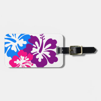 Retro Tropical Flowers Pink Blue & Purple Travel Bag Tag