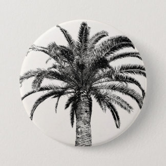 Retro Tropical Island Palm Tree in Black and White 7.5 Cm Round Badge
